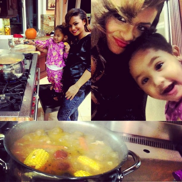 Christina Milian got some kitchen help from her daughter, Violet. Source: Instagram user christiinamilian