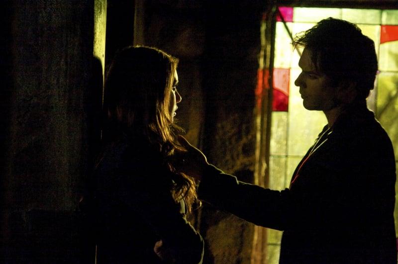 Elena (Nina Dobrev) and Damon share a weird moment.