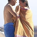 Jamie Hince and Kate Moss toweled off after taking a dip.