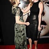 Chloë Moretz laughed with her Carrie costar Judy Greer.