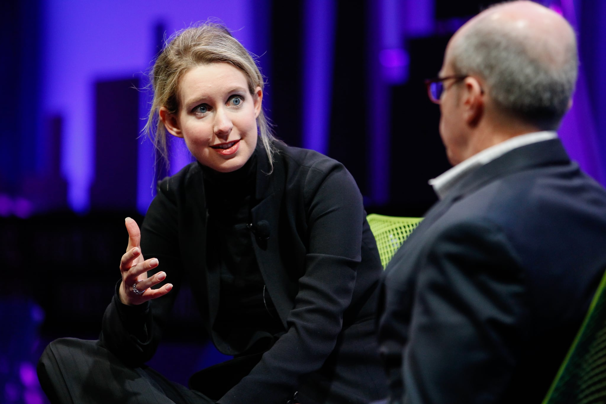 SAN FRANCISCO, CA - NOVEMBER 02:  Elizabeth Holmes (L) and Alan Murray speak at the Fortune Global Forum at the Fairmont Hotel on November 2, 2015 in San Francisco, California.  (Photo by Kimberly White/Getty Images for Fortune)