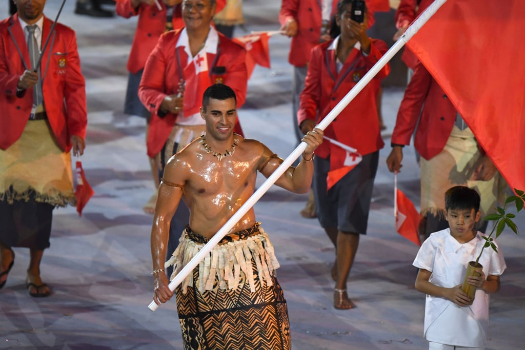 Hot Tonga Flag Bearer at the Olympics Opening Ceremony