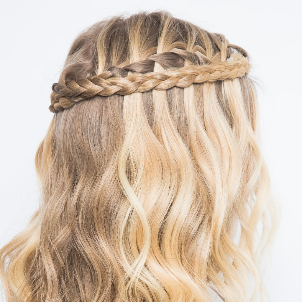 waterfall braid hairstyle how-to | popsugar beauty