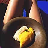 Kendall snacked on mango and sticky rice. Source: Instagram user kendalljenner