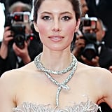 Jessica Biel supported her husband, Justin Timberlake, at the premiere of Inside Llewyn Davis wearing rosy pink cheeks, a pop of rose lipstick, and a glamorous updo.