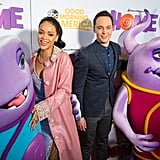 Rihanna and Jim Parson got cosy with the Boov at a screening of their new film Home in Texas on Tuesday.