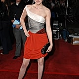 Kristen Stewart flashed a little colour in a red-skirted Balenciaga dress at the Twilight premiere in LA back in November 2008.