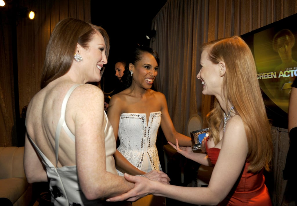 Julianne Moore, Kerry Washington and Jessica Chastain smiled big backstage at the SAG Awards.