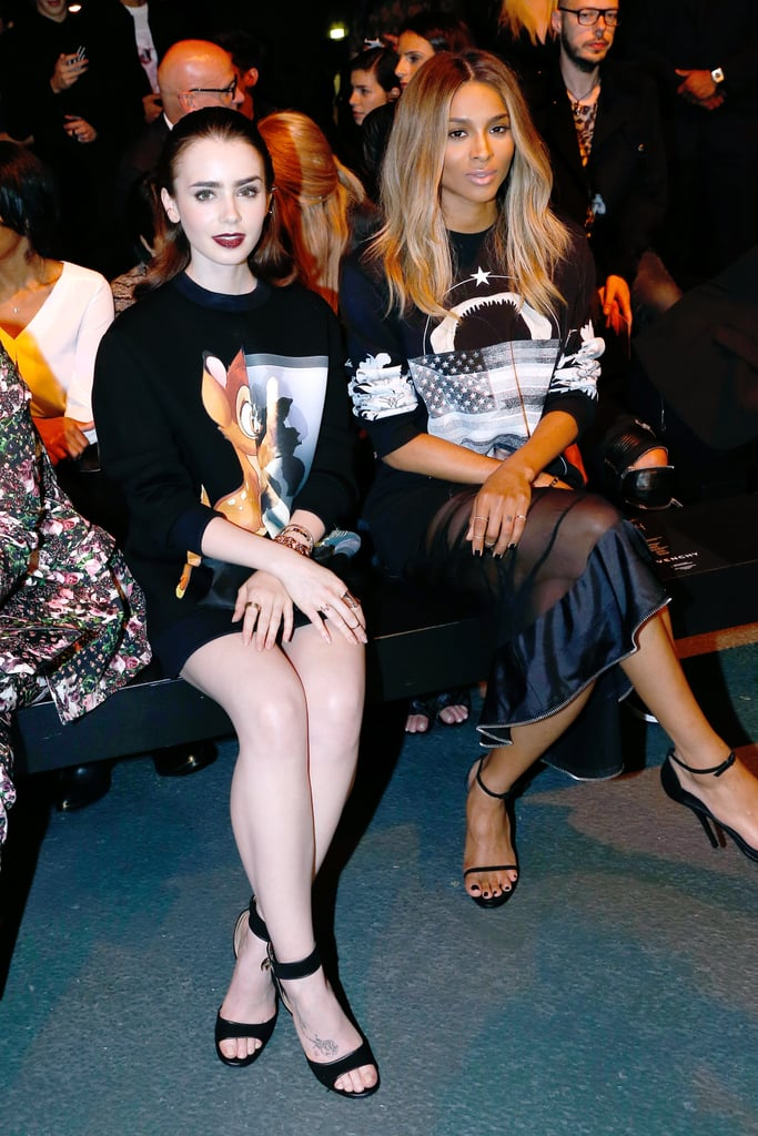Lily Collins and Ciara sat front row at the Givenchy presentation on Sunday.
