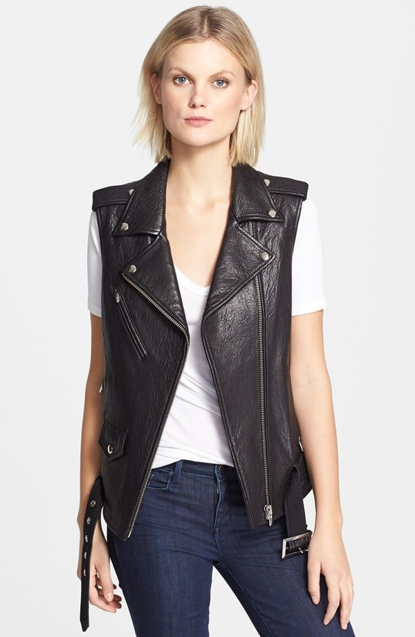 Veda 'Castor' Classic Textured Leather Moto Vest ($726)