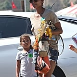 Halle Berry and Nahla Aubrey visited a pumpkin patch.
