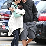 James Stewart kept his arm around Jessica Marais and their baby girl Scout in Sydney on July 26.