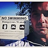 "Gavin Rossdale took a picture near a ""No Swimming"" sign.  Source: Twitter user GavinRossdale"