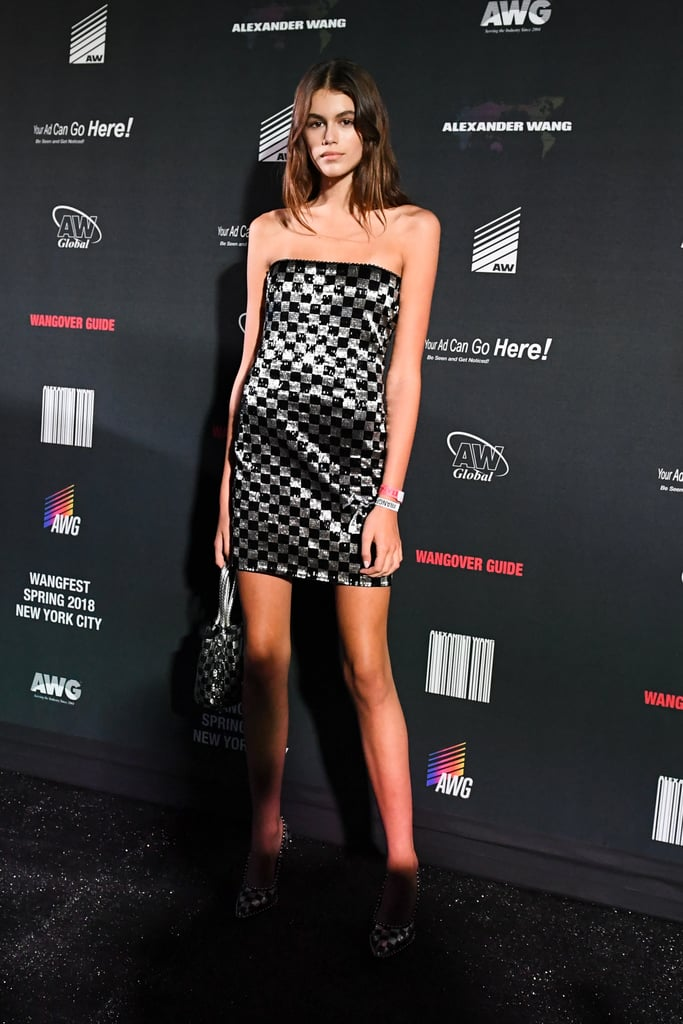 Kaia's Alexander Wang Afterparty Outfit Was This Sequin Checked Sleeveless Number