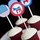 The Election 2012 Cupcake Toppers ($5 for 12) will add patriotic flair to your typical sweets.