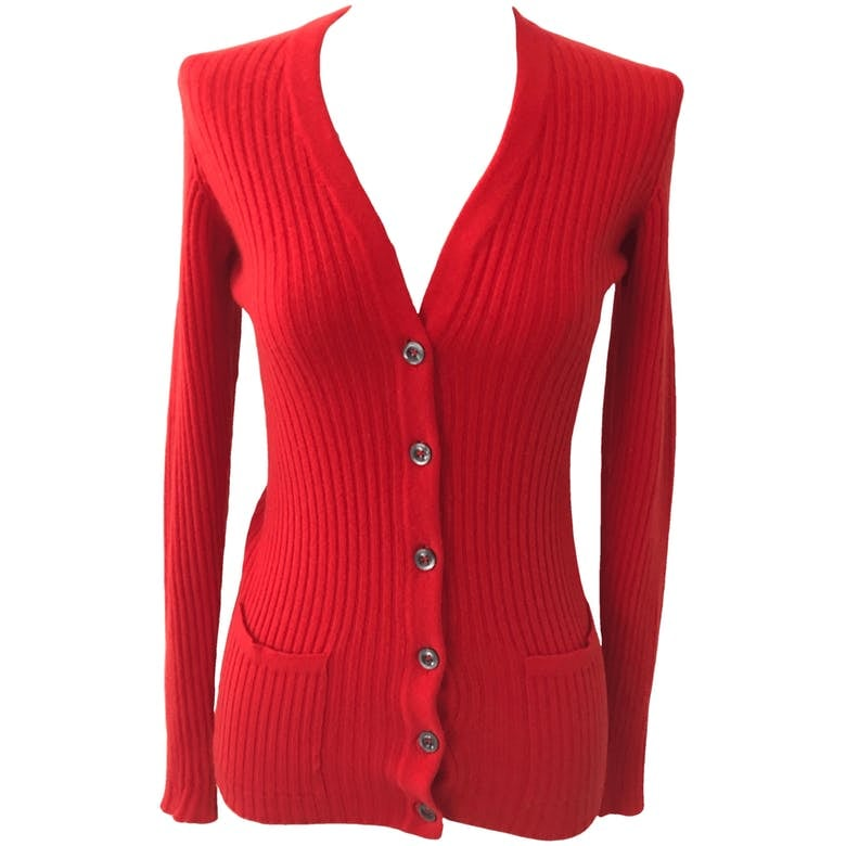 50's/60's Red Ribbed Cashmere Cardigan by Bergdorf Goodman