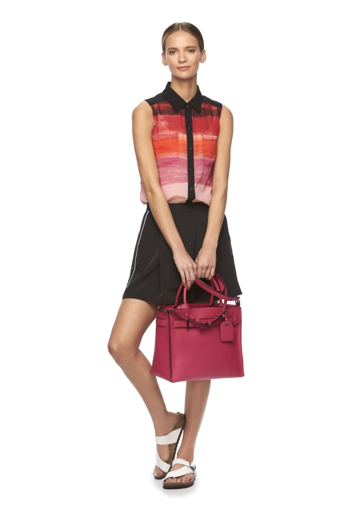 Striped Watercolor Shirt ($38), RK40 Belted Convertible Satchel ($82), and Soft Shorts  ($44)