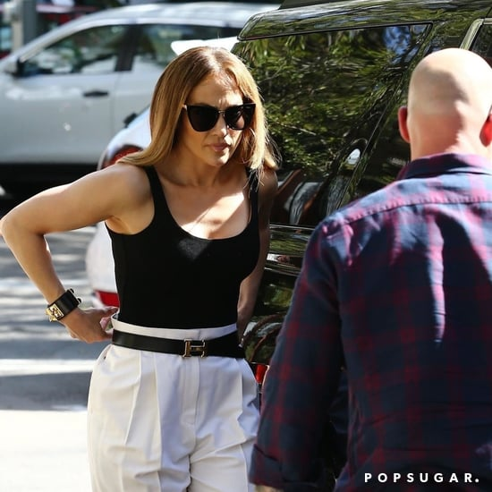 Jennifer Lopez Black Bodysuit and White Trousers