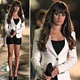 On set, Lea Michele wore a sophisticated black-and-white ensemble, which we happen to think is perfect for a sexy night out.