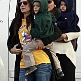 Sandra Bullock and Camila Alves hung out together in New Orleans with Vida McConaughey and Louis Bullock on their hips.