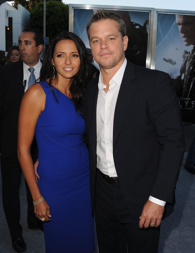 Cute Hollywood couple Matt Damon and Luciana Barroso stepped out for the premiere of Matt's new film, Elysium, in LA on August 8.