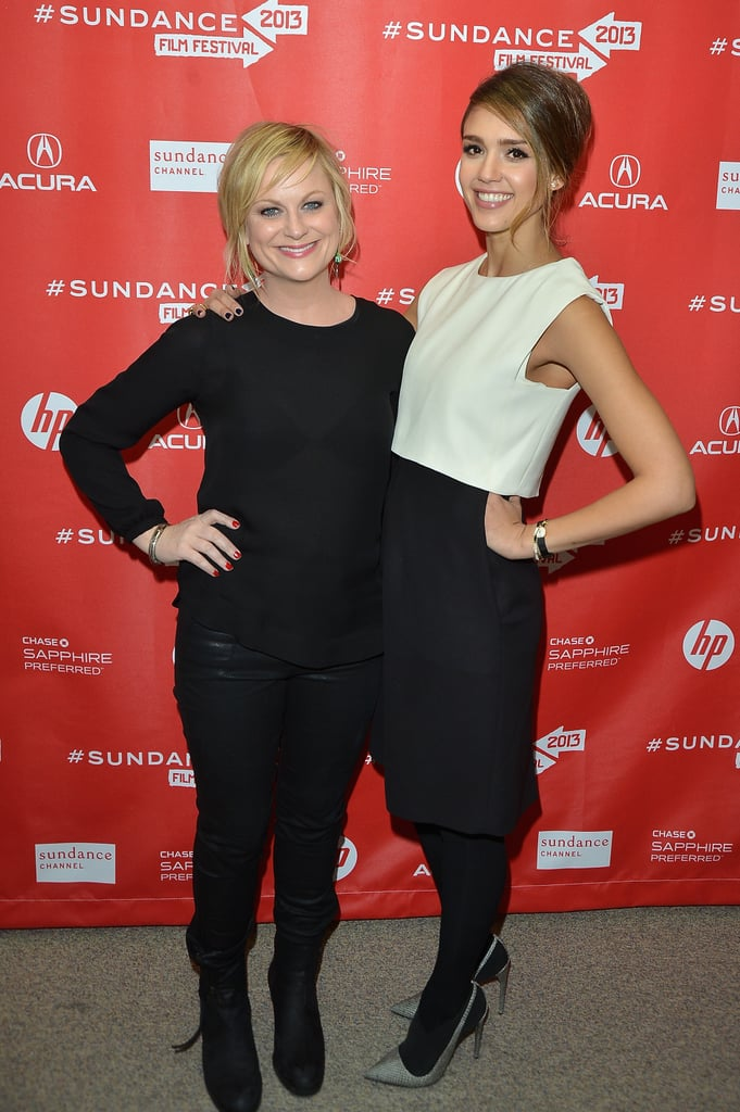Jessica Alba posed with Amy Poheler on the red carpet at the A.C.O.D. premiere at Sundance.