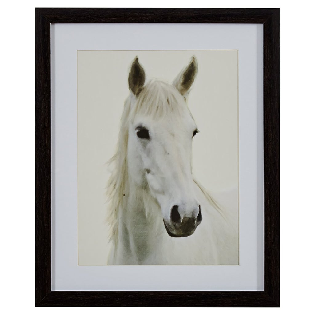 Photo of a White Horse in Brown Frame ($50)