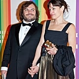 Jack Black gave his wife a cute look.