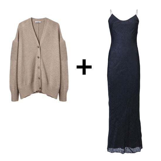 Temper a body-conscious maxi with an oversize knit, like this thick, wool cardigan. The subtle shoulder cutouts give it a little sex appeal that makes it perfect for completing your evening-out styles.  A Détacher Kaoru Oversize Cardigan ($506) T by Alexander Wang Jacquard Slip Dress ($210)