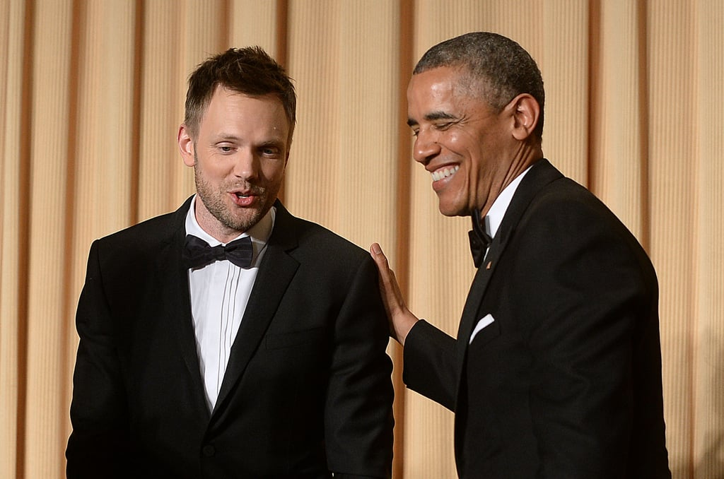 Joel McHale and President Barack Obama shared a moment on stage.