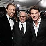 Steven Spielberg posed with Tom Hiddleston and Jeremy Irvine.