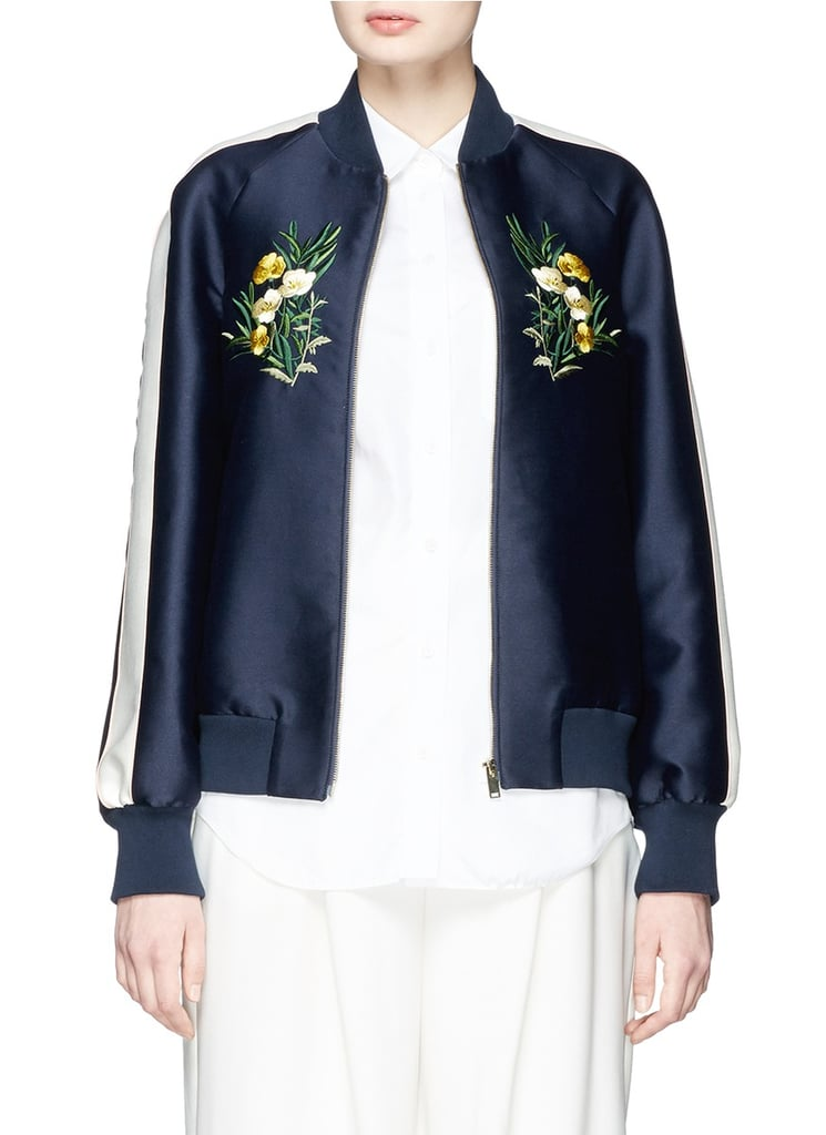 Stella McCartney Lorinda Floral Embroidery Cotton-Silk Bomber Jacket ($2,535)