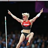Martina Strutz of Germany showed her excitement after clearing the bar in the women's pole vault final.