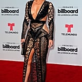 Jennifer Lopez Wearing Julien MacDonald  to the 2017 Billboard Latin Music Awards