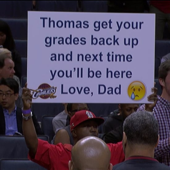 Dad's Sign About Son's Bad Grades at NBA Game