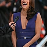 Eva Longoria laughed during an appearance on Le Grand Journal.