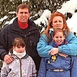 A few years after her parents divorced, Princess Eugenie went skiing with her mum, dad, and sister in 1999.