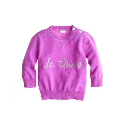 Collection Cashmere Je t'Aime Baby Sweater ($145)