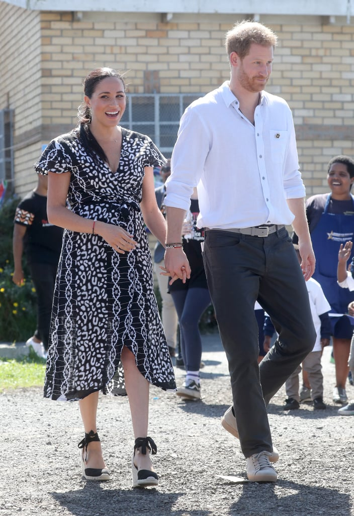 "If you've been closely (and I mean very closely) following Meghan Markle and Prince Harry's tour of Southern Africa, which began Monday, you might have noticed the British royals are wearing matching beaded bracelets, and the seemingly simple accessories actually have a powerful meaning behind them. The bracelets read ""Justice"" in beaded letters in honour of The Justice Desk, the Africa-based human rights organisation that Meghan and Harry are working with during their engagement.  According to the Queen's Commonwealth Trust, of which Harry is the president and Meghan is the vice president, The Justice Desk works to help vulnerable groups to better advocate for themselves: ""By empowering local people, the Justice Desk is raising awareness of human rights violations throughout South Africa, Zimbabwe, and Zambia, while providing sustainable tools for action at a grassroots level."" The charity helps young people by teaching them their rights and advocating for a safer, more sustainable society founded on equality. The nonprofit organisation also provides female empowerment training and self-defence classes for young girls, making it no surprise that this is an organisation the royal couple fully support.  Meghan and Harry kicked off their visit to Southern Africa in Nyanga, Cape Town, South Africa, where Meghan delivered an empowering speech addressing women's rights. She and Harry even let loose and busted a few moves while they were there, making for an altogether fantastic trip so far. Keep scrolling to take a look at some sweet snaps from Meghan and Harry's trip, including a zoomed-in version of the empowering Justice bracelets ($3), available on The Justice Desk's website. Finally, get the details on Meghan's Mayamiko wrap dress.      Related:                                                                                                           Meghan Markle Gave This Blue Shirtdress Another Go, and Who Could Blame Her?"