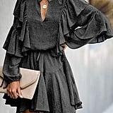 Mitilly Ruffle Long-Sleeved Polka-Dot Dress