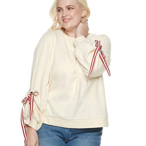 POPSUGAR Plus Size Tie-Sleeve Sweatshirt