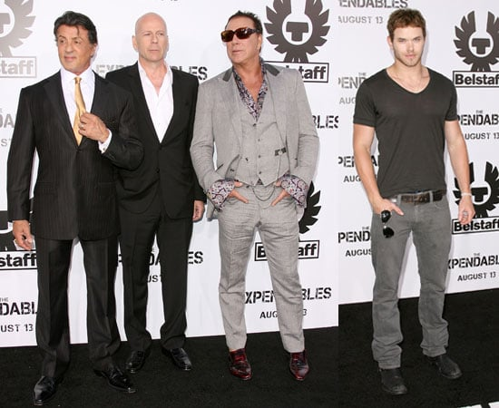 Kellan Lutz, Sylvester Stallone, Mickey Rourke, Bruce Willis at The Expendables LA Premiere
