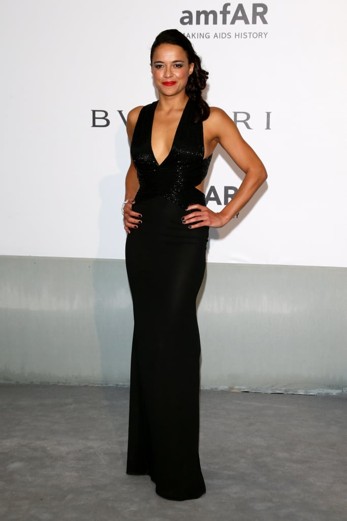 Michelle Rodriguez showed off her curves in a low-cut dress.