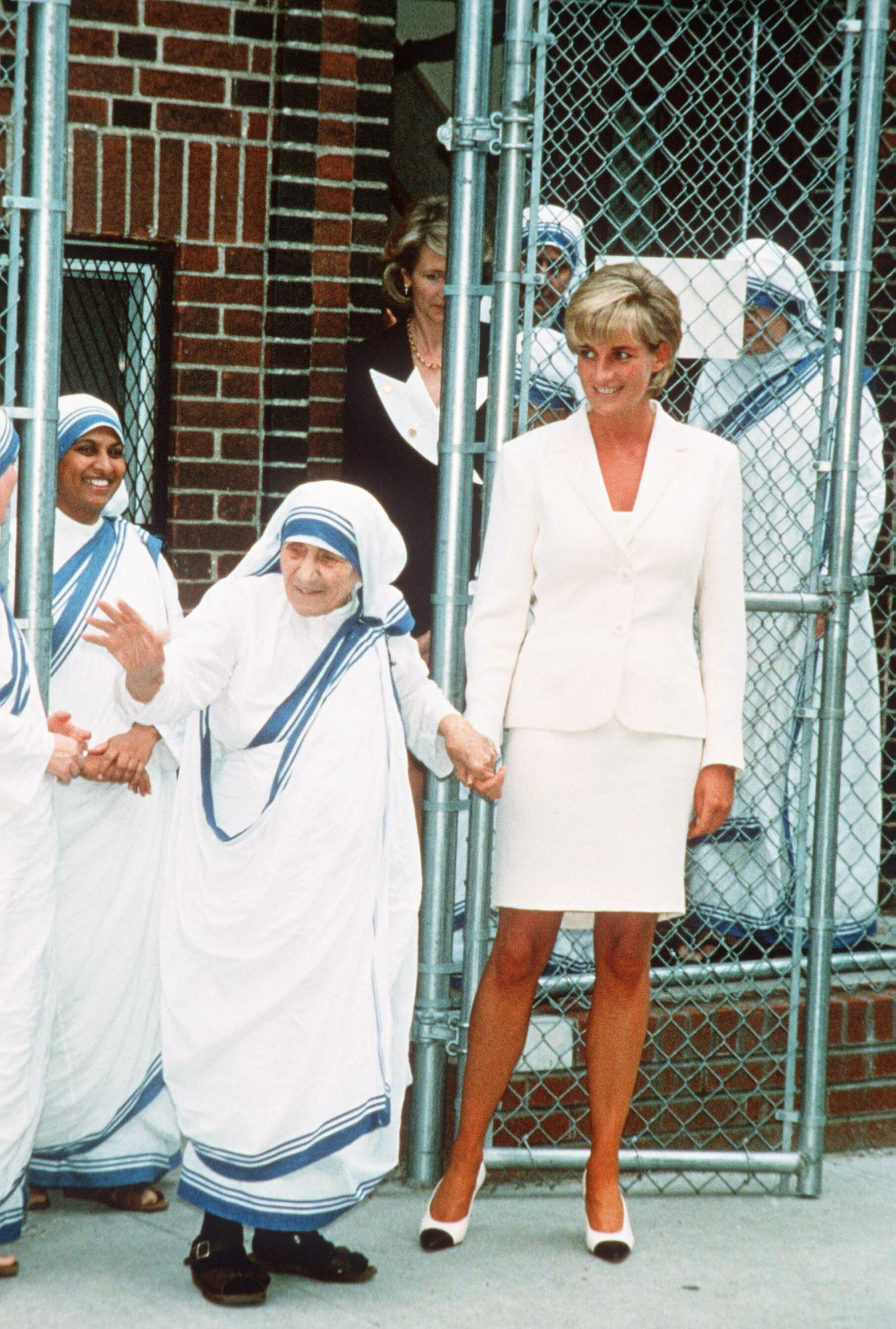 NEW YORK, USA - circa JUNE 18, 1997:  (FILE PHOTO) The Princess of Wales bonds with Mother Teresa in New York. (Photo by Anwar Hussein/WireImage) On July 1st  Diana, Princess Of Wales would have celebrated her 50th BirthdayPlease refer to the following profile on Getty Images Archival for further imagery. http://www.gettyimages.co.uk/Search/Search.aspx?EventId=107811125&EditorialProduct=ArchivalFor further images see also:Princess Diana:http://www.gettyimages.co.uk/Account/MediaBin/LightboxDetail.aspx?Id=17267941&MediaBinUserId=5317233Following Diana's Death:http://www.gettyimages.co.uk/Account/MediaBin/LightboxDetail.aspx?Id=18894787&MediaBinUserId=5317233Princess Diana  - A Style Icon:http://www.gettyimages.co.uk/Account/MediaBin/LightboxDetail.aspx?Id=18253159&MediaBinUserId=5317233