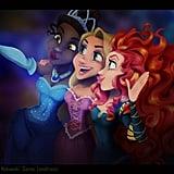 Tiana, Rapunzel, and Merida