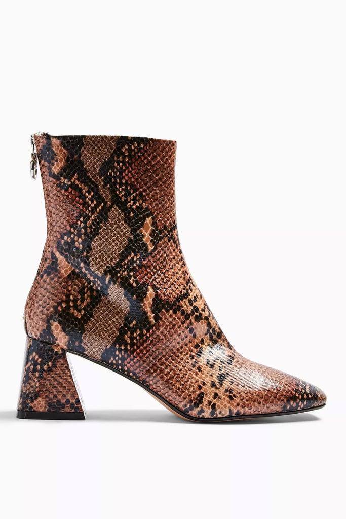 Topshop Breeze Snake Square Toe Boots