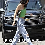 Kendall Jenner Green Tube Top and Jeans