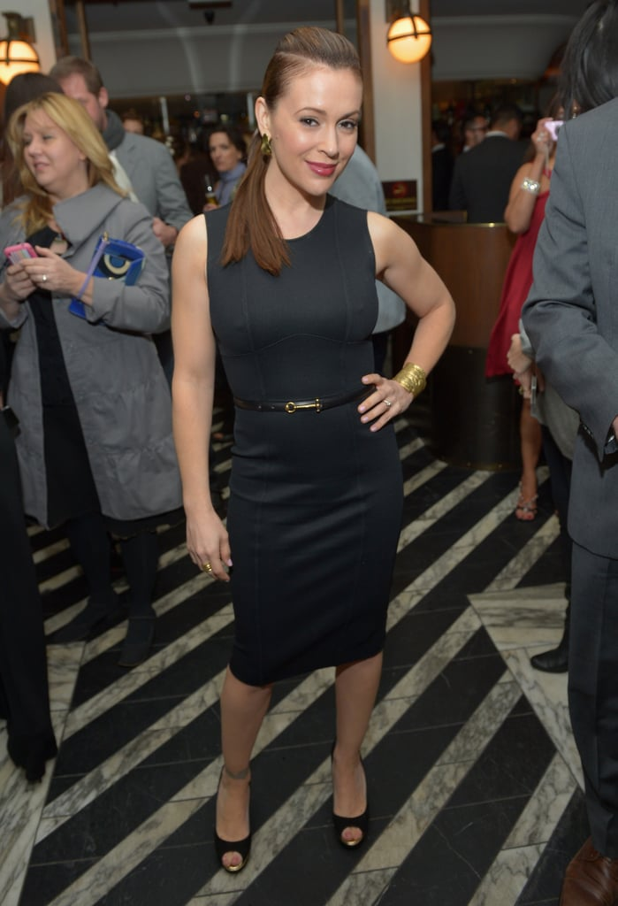 Alyssa Milano wore a LBD to a pre-Oscars party held by Vanity Fair on Thursday night in LA.