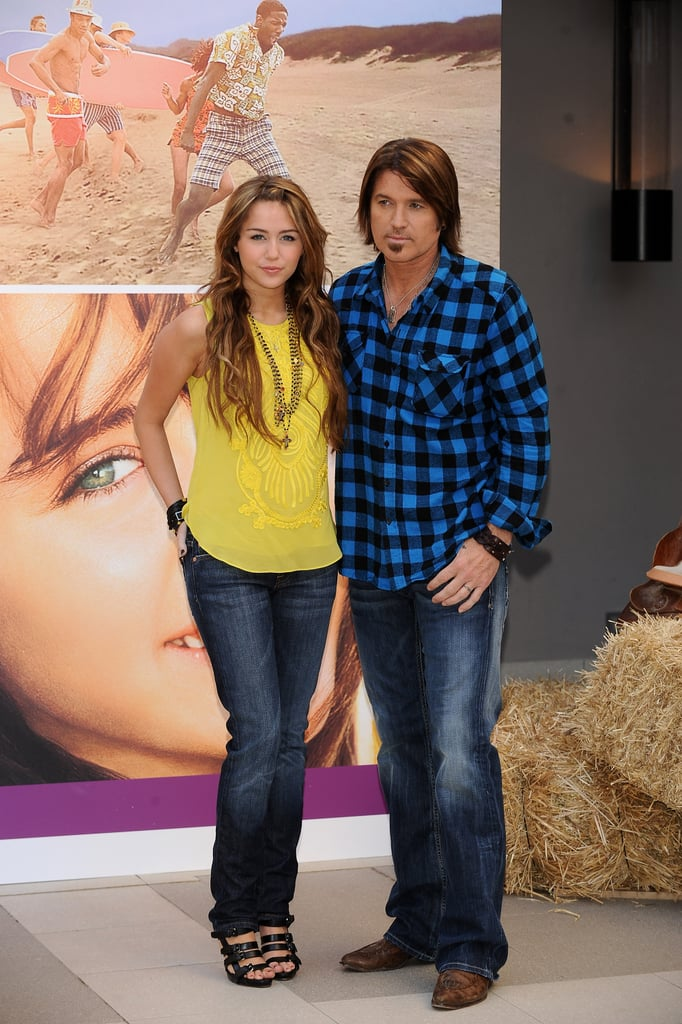 Miley and Billy Ray attended a photo call for Hannah Montana: The Movie in Madrid in Apr. 2009.