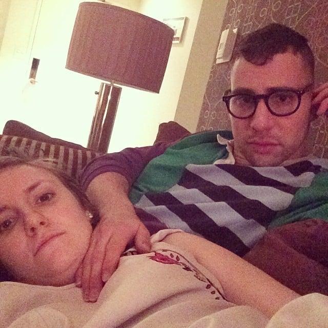Lena Dunham cozied up with her boyfriend, Jack Antonoff. Source: Instagram user lenadunham